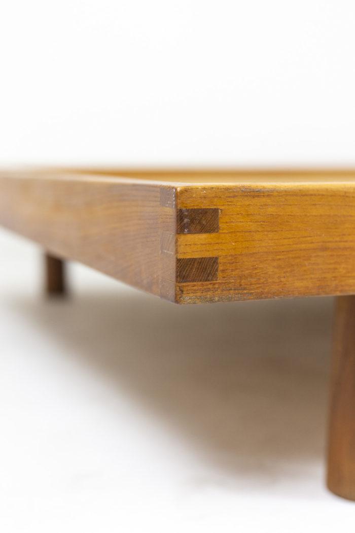 Pierre Chapo, Lit Godot à fond de bois simple en orme nature blond, détails 4