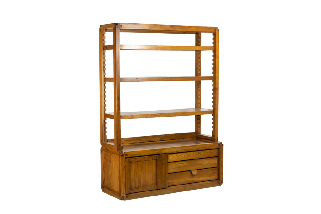Pierre Chapo, Shelves cabinet in natural elm, 1976