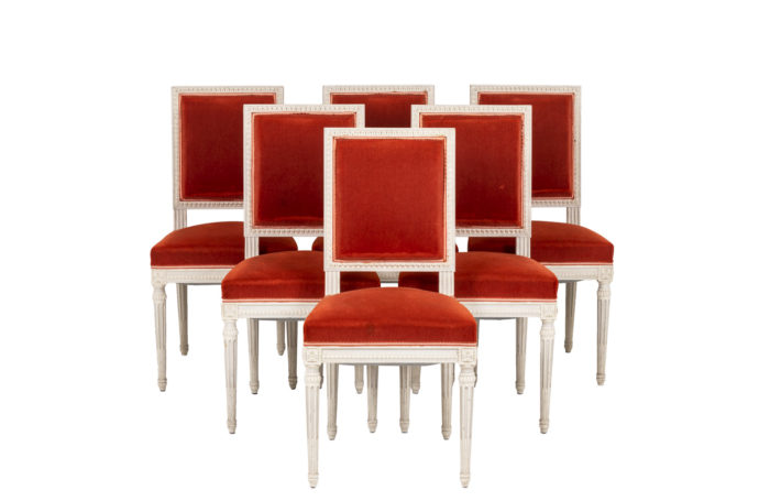 Series of six Louis XVI style chairs in lacquered wood