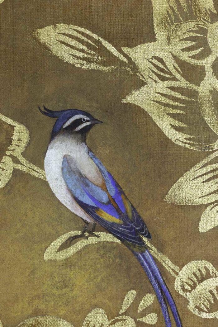 Toile peinte, Oiseaux et feuillages