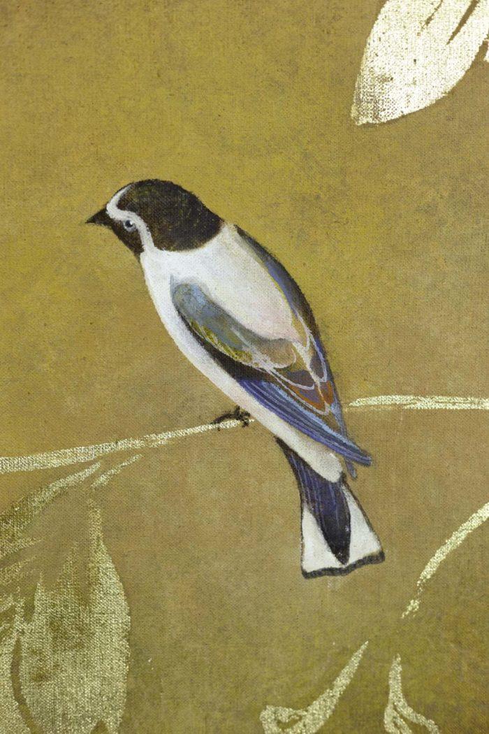 Toile peinte, Oiseaux et feuillages, détails 1
