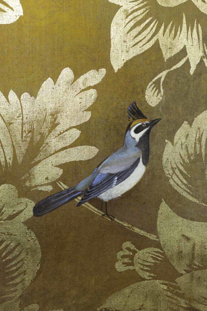 Toile peinte, Oiseaux et feuillages, détails 2