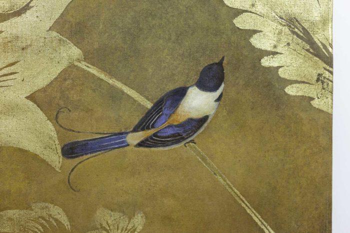 Toile peinte, Oiseaux et feuillages, détails 3