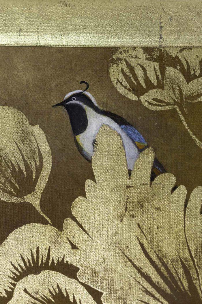 Toile peinte, Oiseaux et feuillages, détails