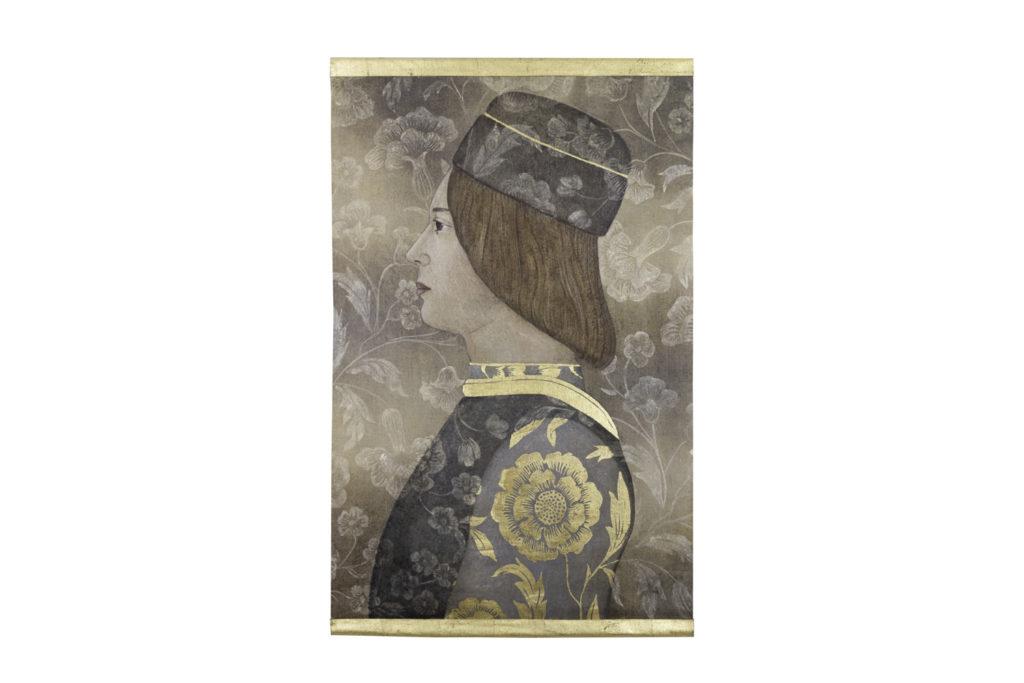 Toile peinte, portrait homme de la Renaissance, travail contemporain
