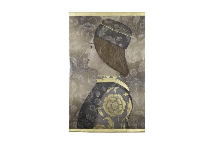 Toile peinte, portrait de la Renaissance, détails 1