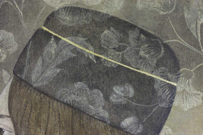 Toile peinte, portrait de la Renaissance, détails 3