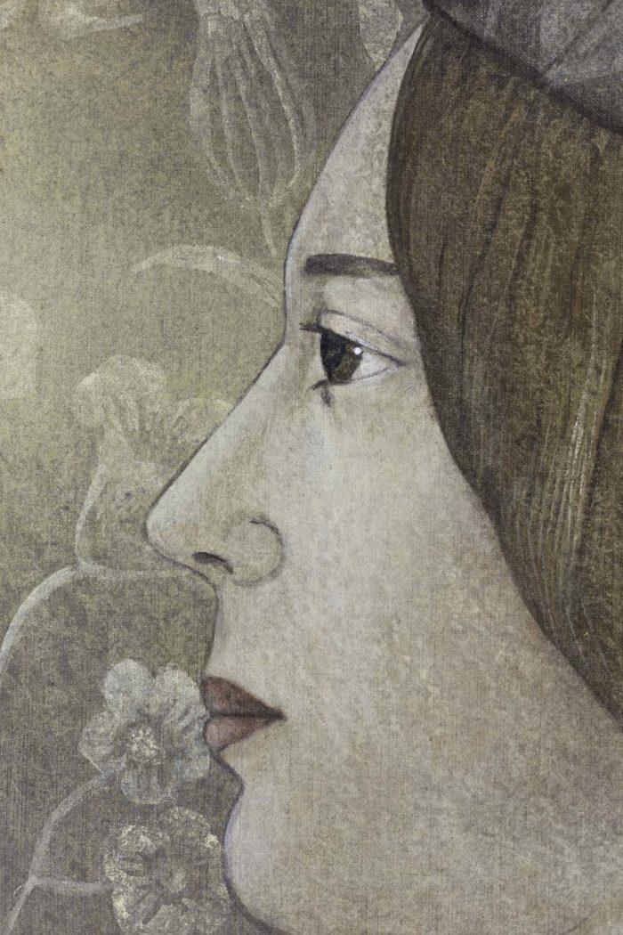 Toile peinte, portrait de la Renaissance, détails 5