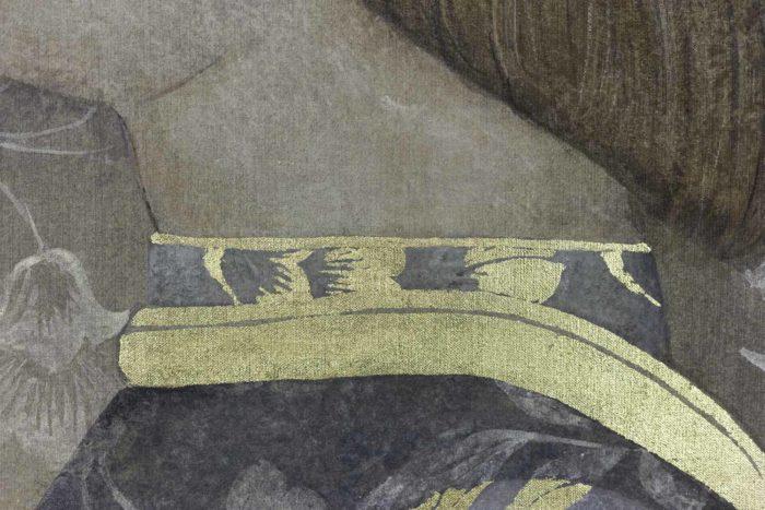 Toile peinte, portrait de la Renaissance, détails