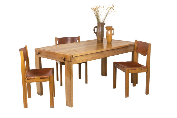 Maison Regain, Series of six chairs in elm and leather 8