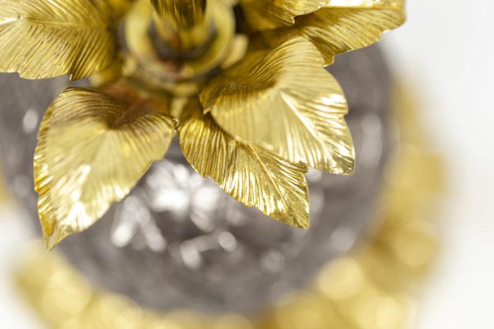 Maison Charles, Lampe Ananas en laiton doré et argenté, détails 2