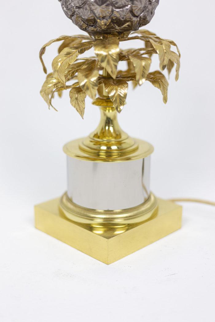 Maison Charles, Lampe Ananas en laiton doré et argenté, détails