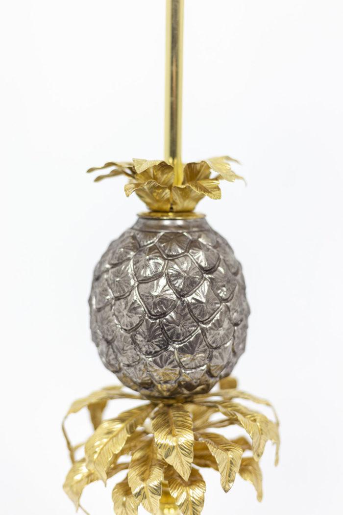 Maison Charles, Lampe Ananas en laiton doré et argenté, détails panse