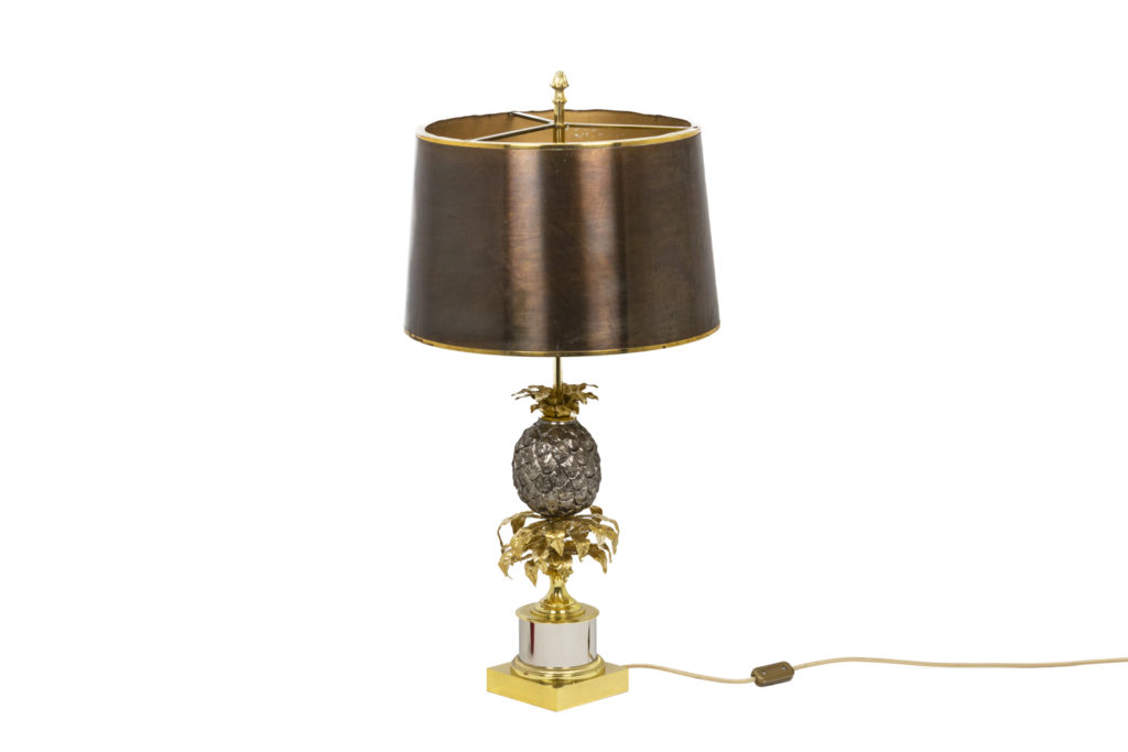 Maison Charles, Pineapple lamp in gold and silver brass, 1970's