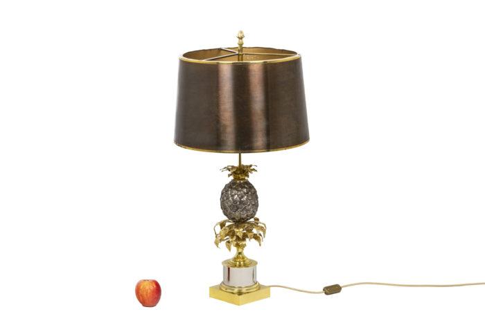 Maison Charles, Lampe Ananas en laiton doré et argenté, vue d'ensemble