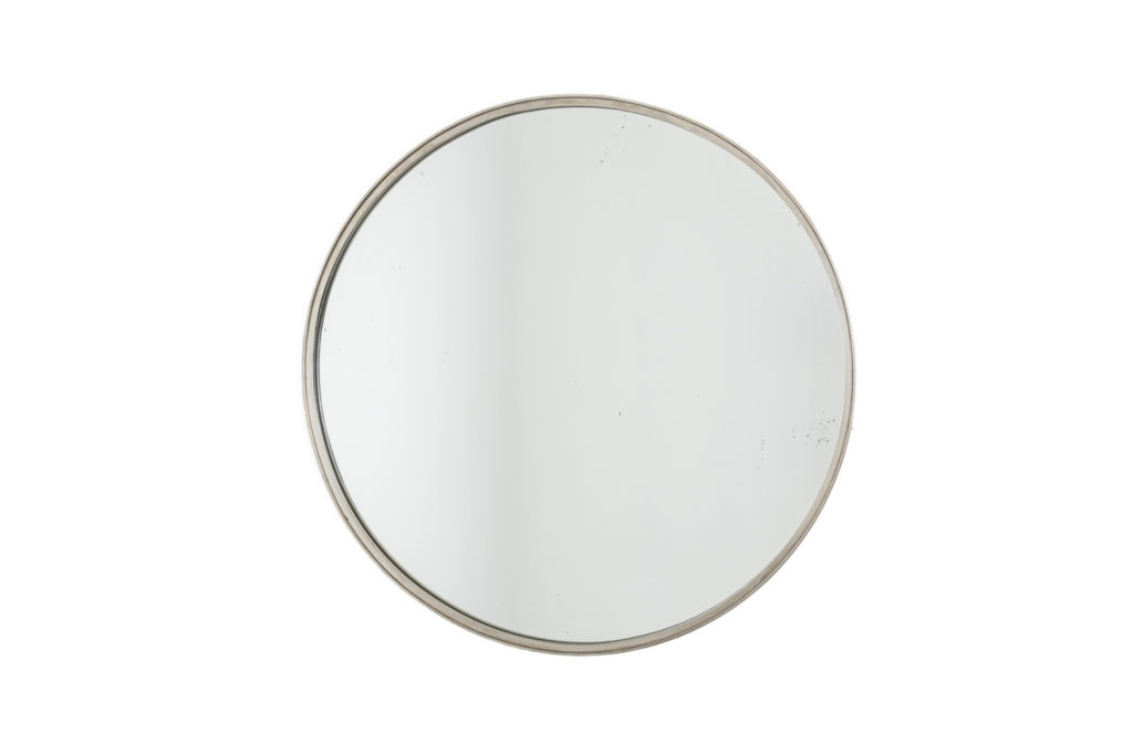 Circular mirror in silver plated brass, 1970's