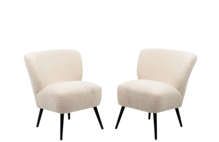 Pair of fireside chairs in sheepskin-like fabric