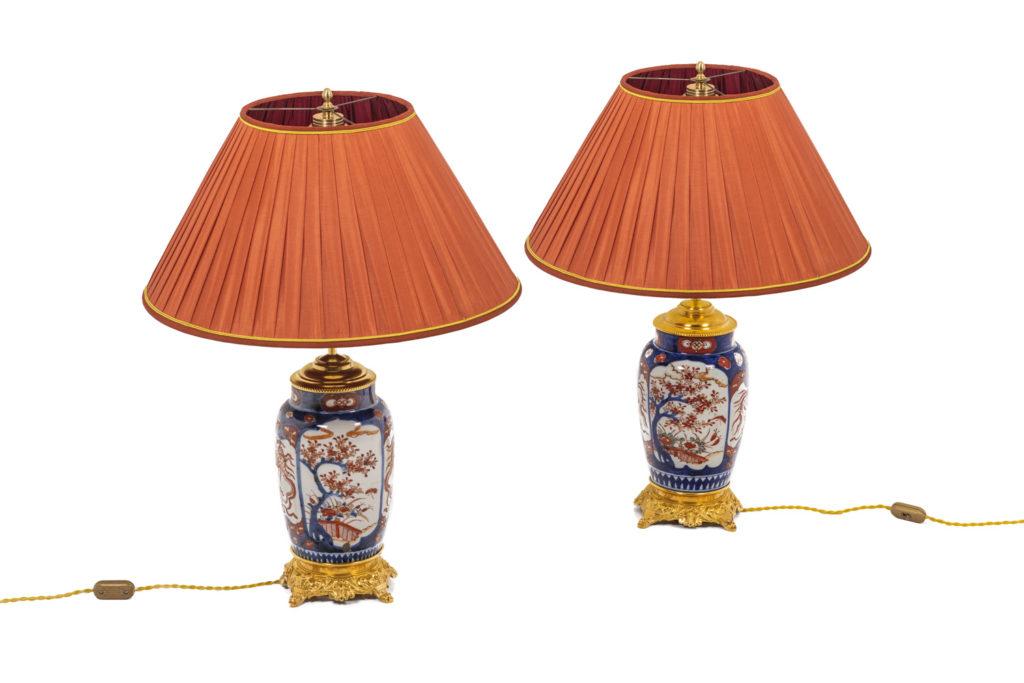 Pair of lamp in Imari porcelain, 19th century
