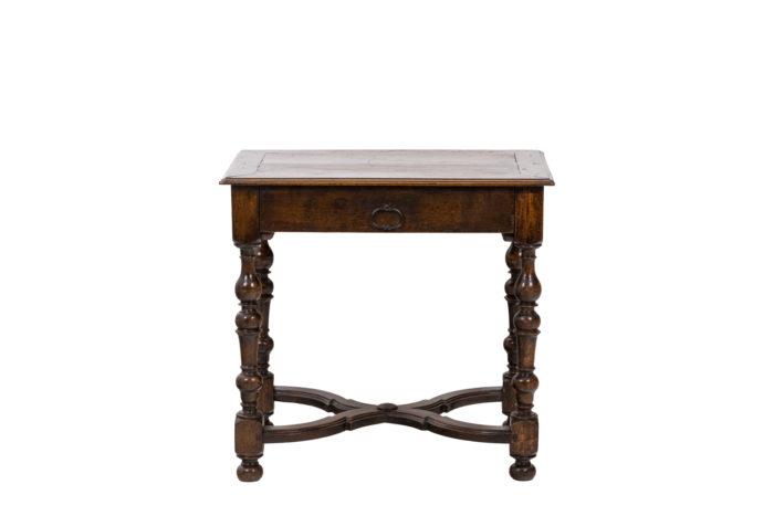 Table de salon en noyer d'époque Louis XIV, vue de dos