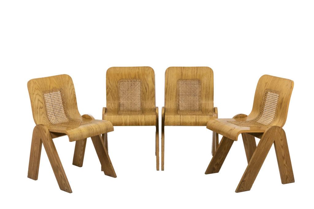 Gigi Sabadin, Série de quatre chaises en contreplaqué, années 1970.