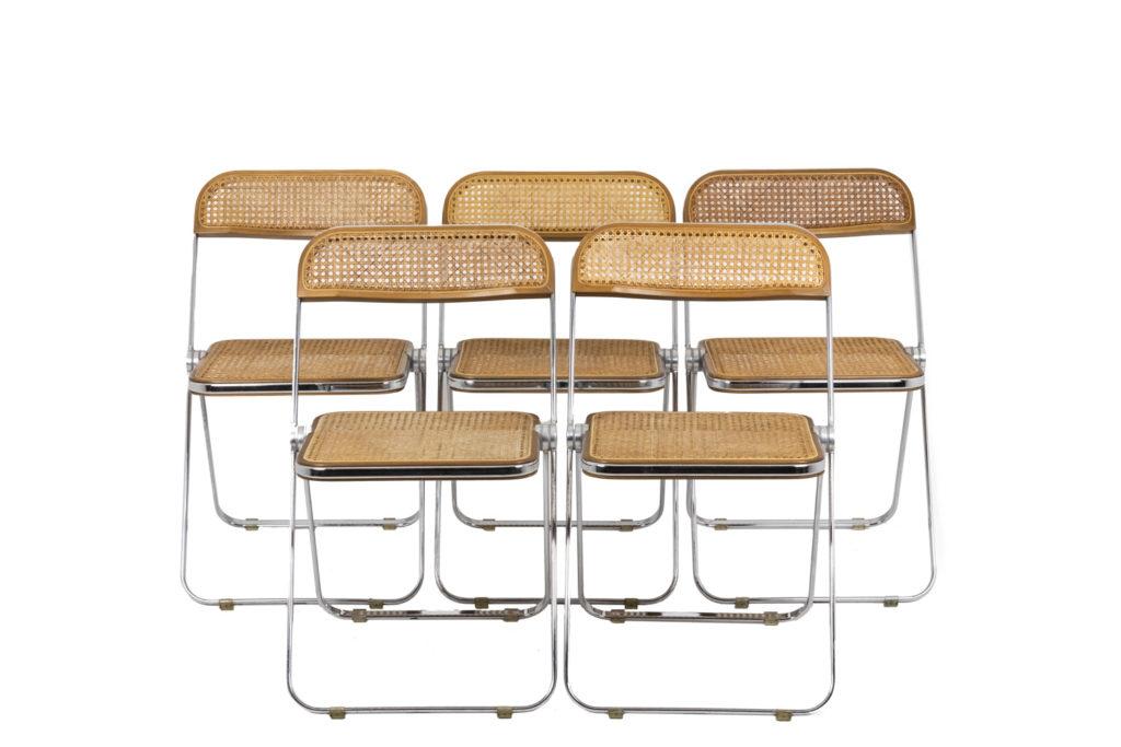 Giancarlo Piretti, Série de cinq chaises cannées, années 1970