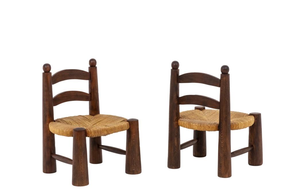 Paire de chaises en paille, années 1940