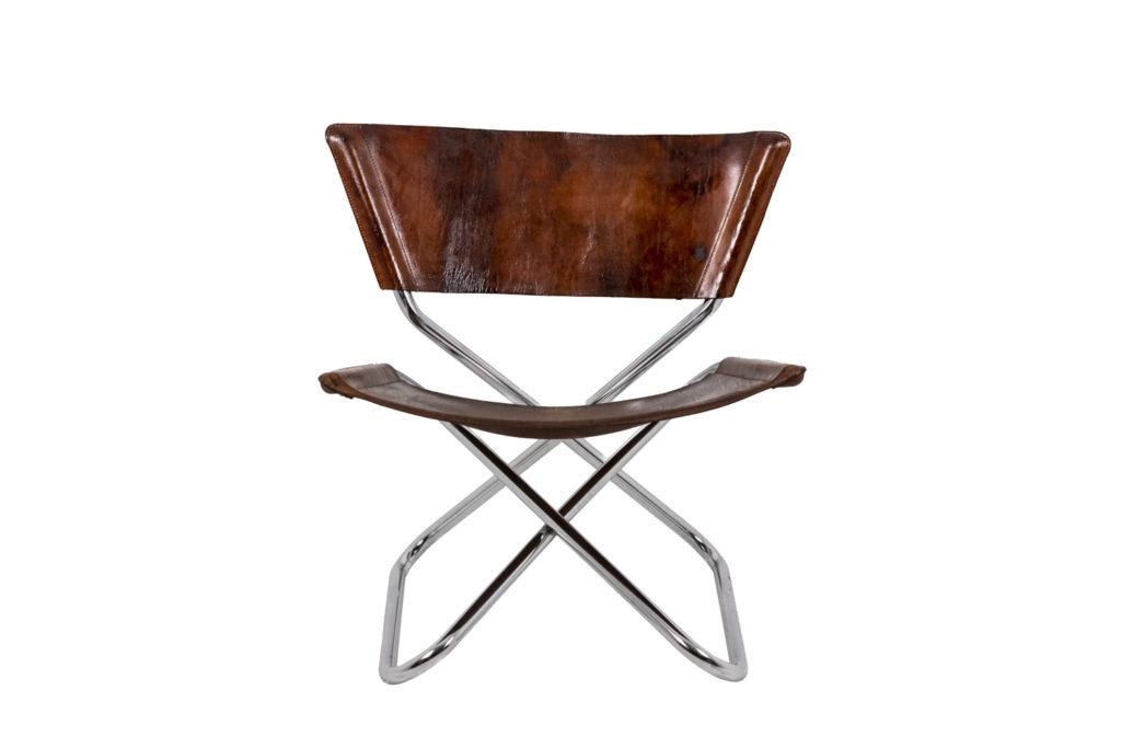 Erik Magnussen, chaise «Z-Down» en métal et cuir, 1968