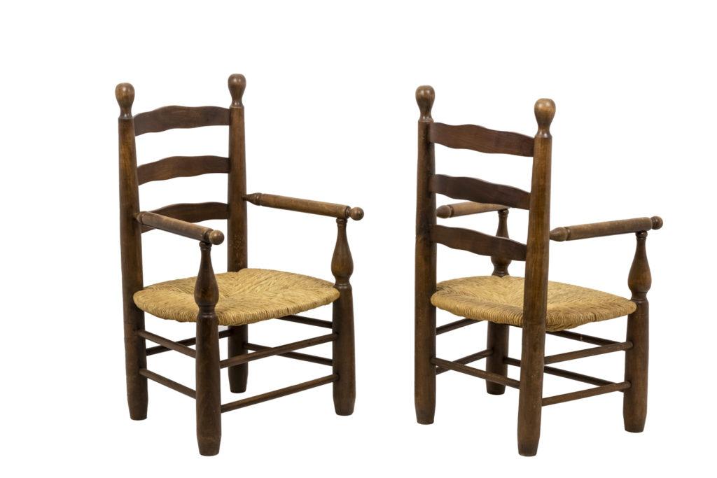 Paire de fauteuils paillés en hêtre naturel, années 1950