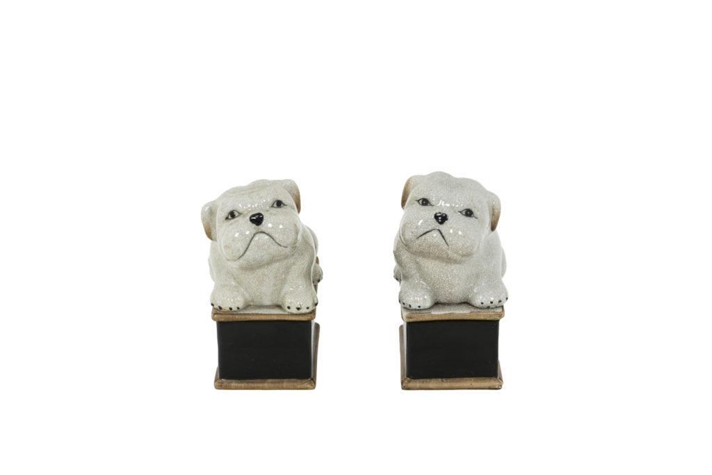 Paire de petit chiens en porcelaine céladon craquelée, années 1950