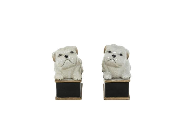 Paire de petit chiens en porcelaine céladon craquelée