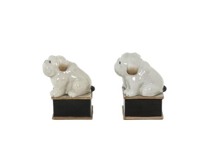 Paire de petit chiens en porcelaine céladon craquelée, vue de profil