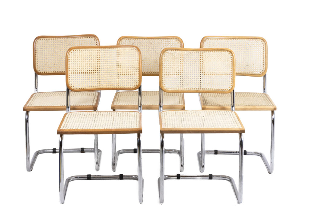 """Marcel Breuer, Series of five  chairs B 32 """"Cesca"""" in beech blond varnished, 1970s"""