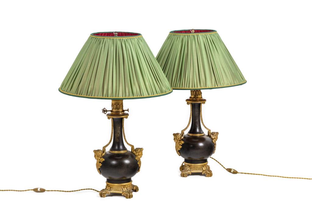 Paire de lampes en tôle et bronze doré, circa 1880