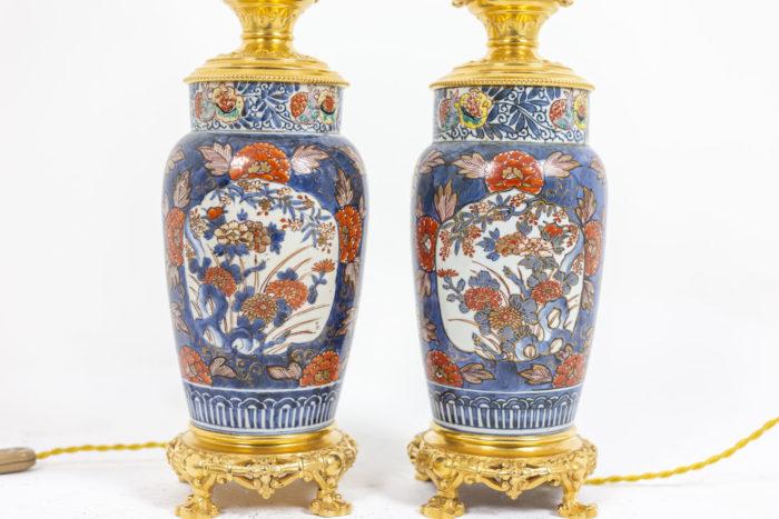 Paire de lampes Imari - cols et socles