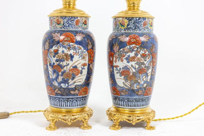 Paire de lampes Imari - décors et socles