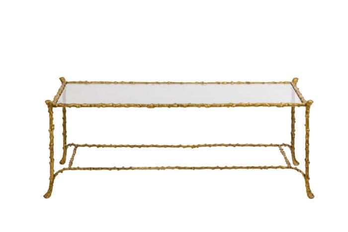 Table basse en bronze doré - face