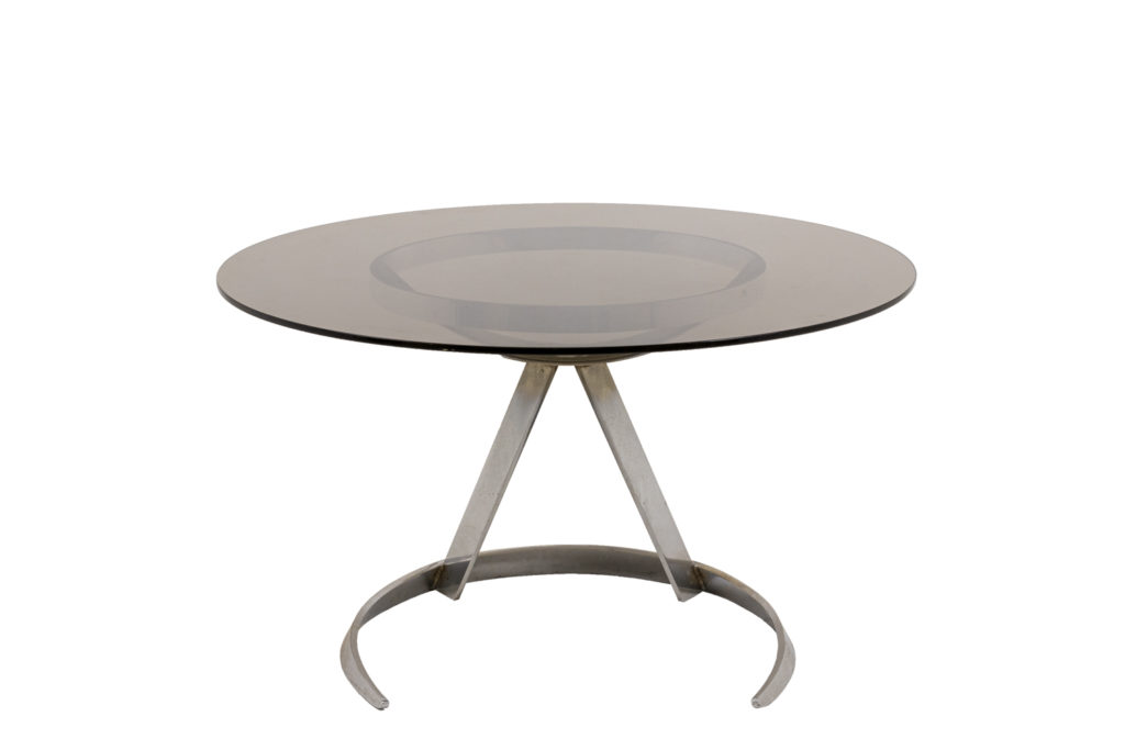 Boris Tabacoff, Round table in chromed metal and smoked glass, 1970s