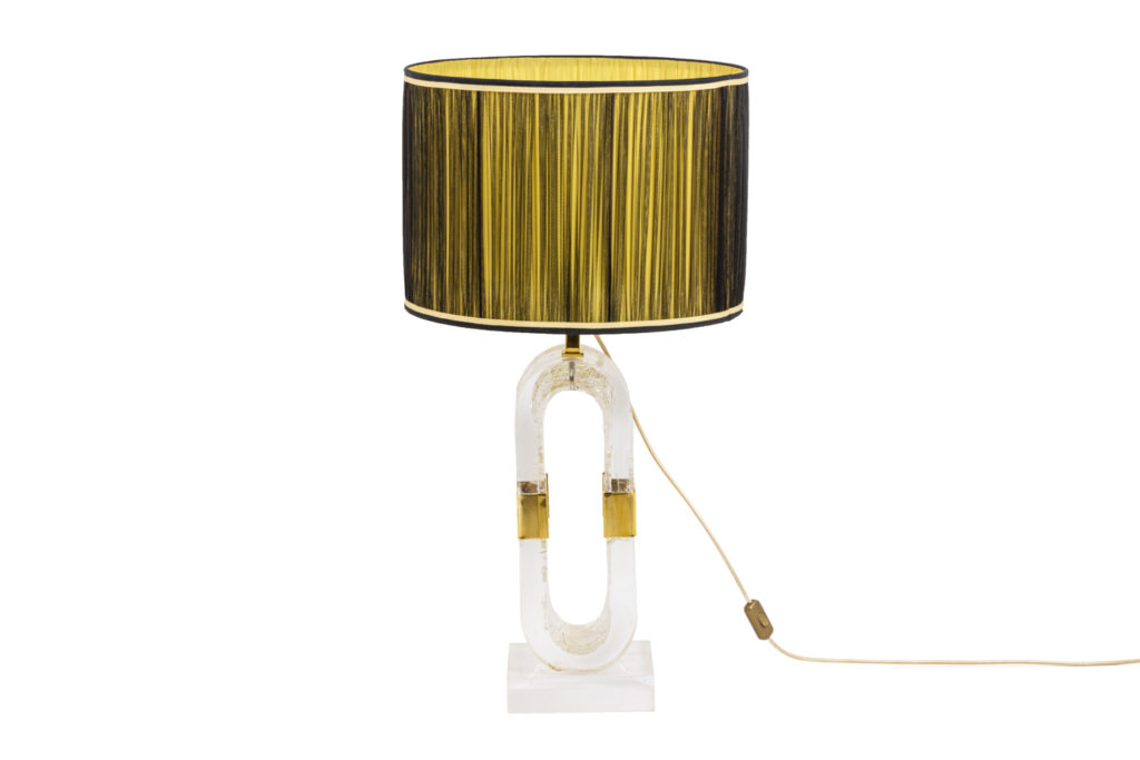 Lamp in lucite and gilded brass, 1970s