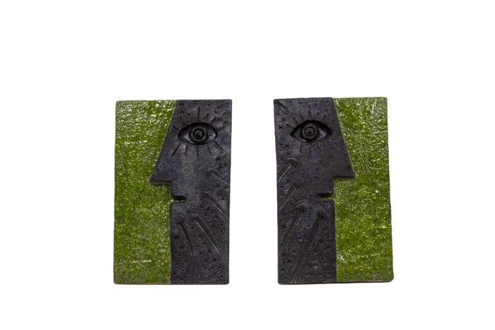 Pair of bas-reliefs - face