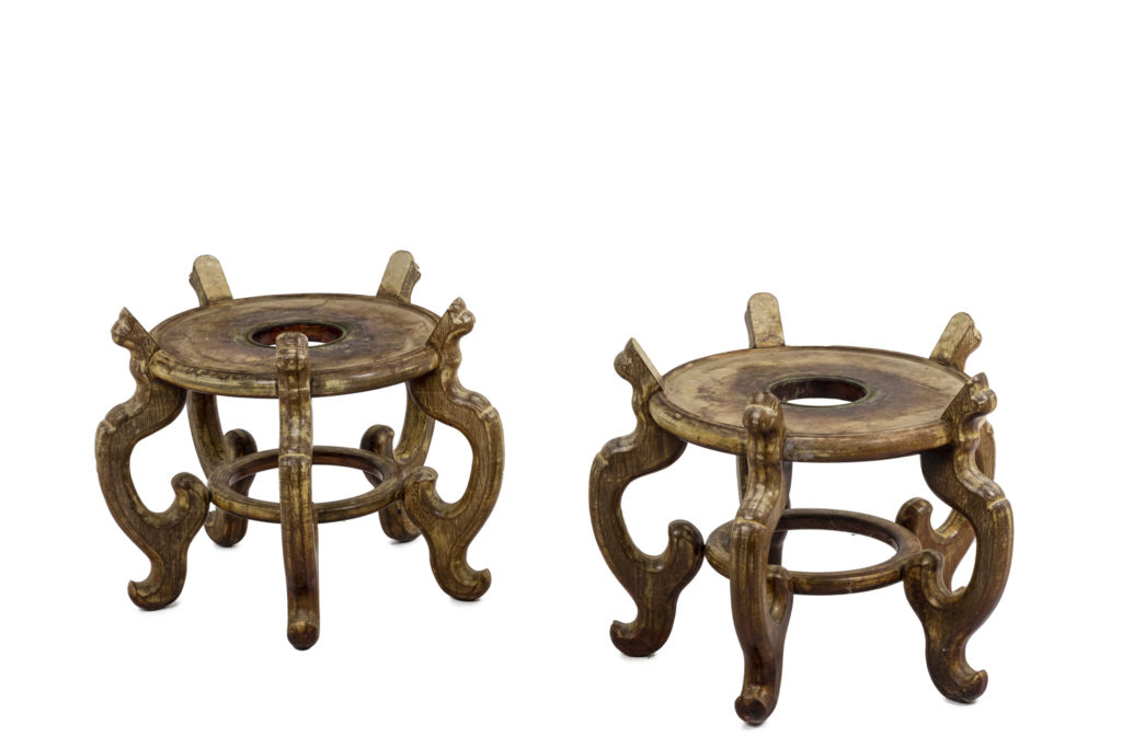 Pair of Asian style plinths in ironwood, 1900s
