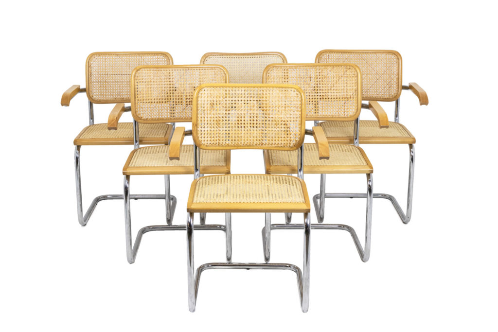 Series of six armchairs Cesca in beech blond, 1970s