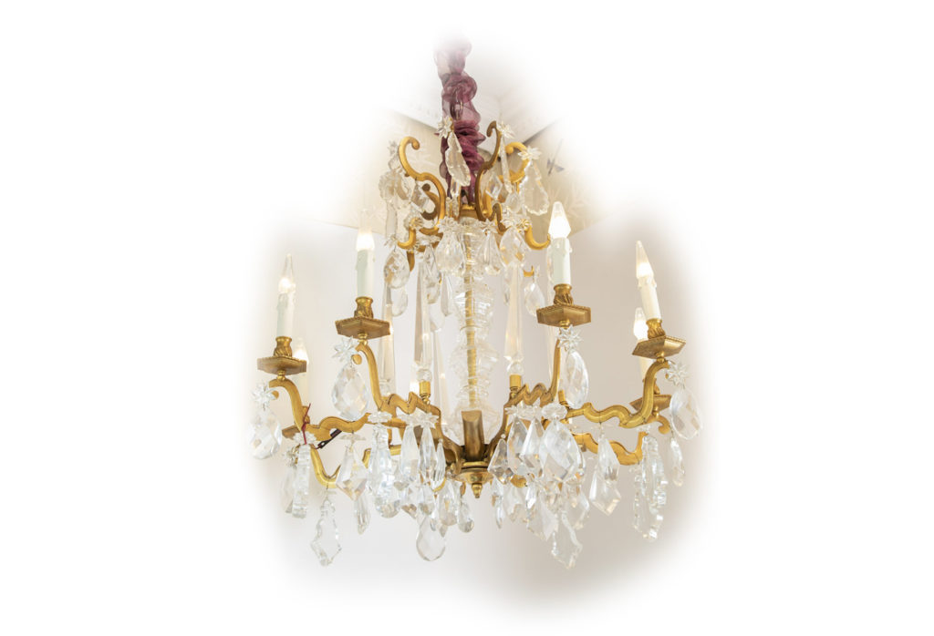 Chandelier in crystal and gilt bronze, 1940s