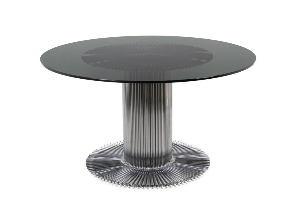 Gastone Rinaldi, Table ronde en métal chromé et verre fumé, années 1970
