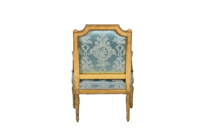 Paire de fauteuils d'apparat de style Louis XVI - dos