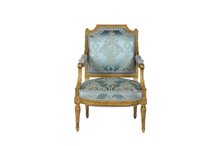 Paire de fauteuils d'apparat de style Louis XVI - face