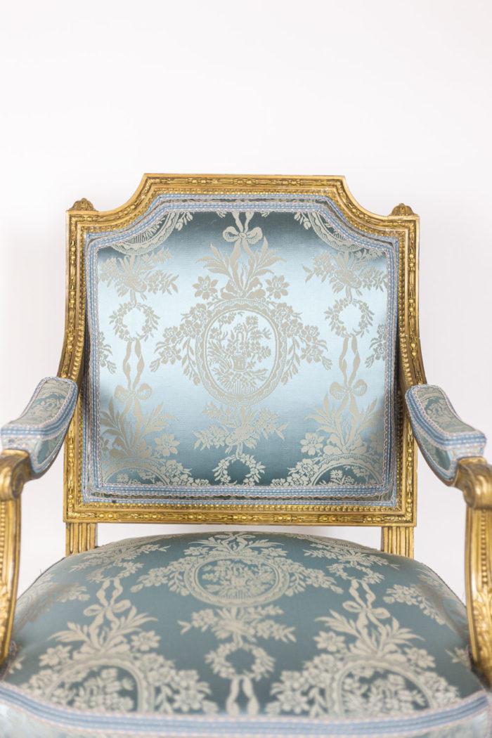 Paire de fauteuils d'apparat de style Louis XVI - focus tissu médaillon