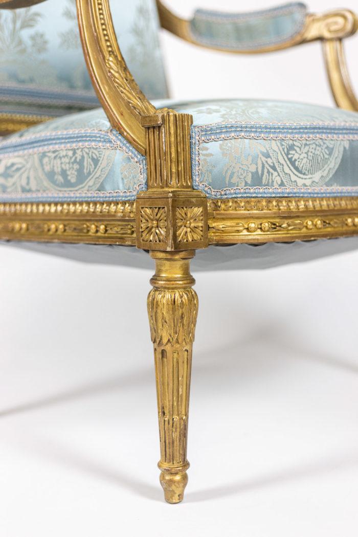 Paire de fauteuils d'apparat de style Louis XVI - piètement