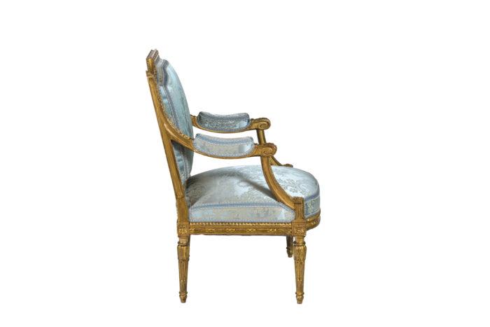Paire de fauteuils d'apparat de style Louis XVI - profil