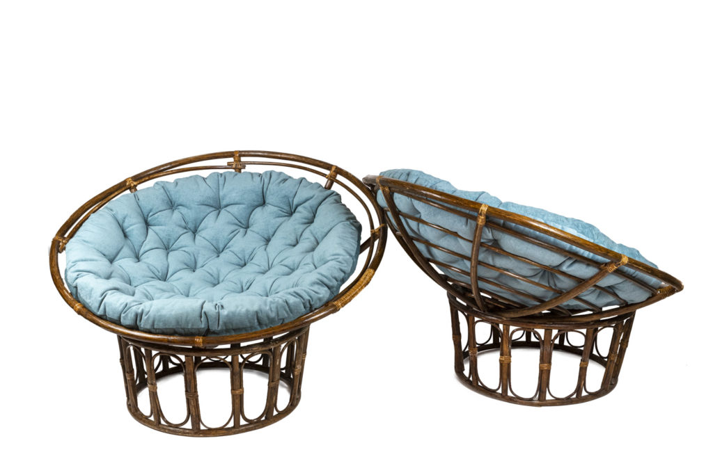 """Paire of fauteuils """"Papasan"""" in rattan and quilted fabric, 1970s"""