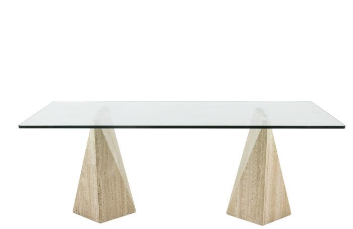 Table de salle à manger en travertin - face